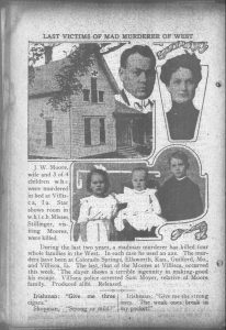 An article in The Day Book, Chicago, June 14, 1912, depicting five of the murder victims and the house.
